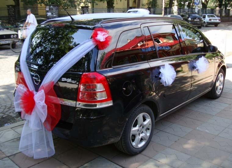 Как украсить машину на свадьбу фатином